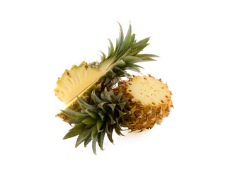 ripe pineapples on white background