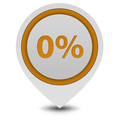 Zero percent pointer icon on white background
