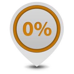 Zero percent pointer icon on white background