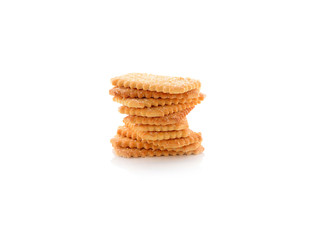 stack of coconut crackers on white background