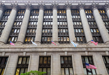 American Flags and Columns on Chicago Building