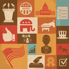 Retro political election campaign icons set. Vector illustration