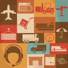 Shipping and Logistics Retro Icons. Vector illustration