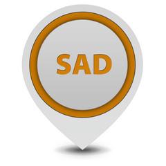 Sad pointer icon on white background