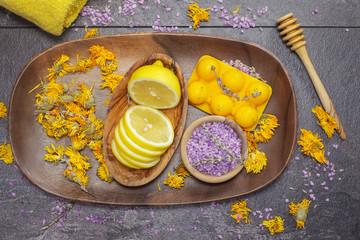 Natural beauty care, lemon, lavender and marigold or Calendula