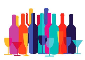 Bunte Cocktailgläser und Flaschen