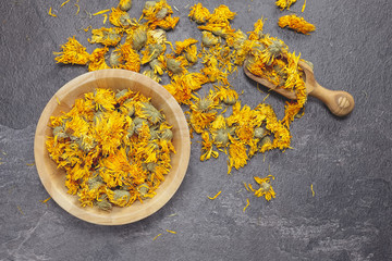 Dried calendula or marigold flowers