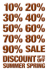 10% to 90% numbers with discount, summer and spring text