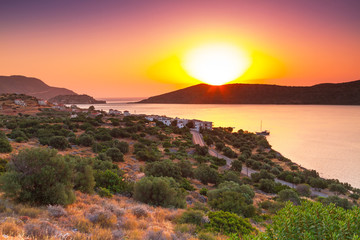Sunrise at Mirabello Bay on Crete, Greece