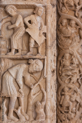 canvas print picture Detail of the Cathedral of St. Lawrence in Trogir, Croatia