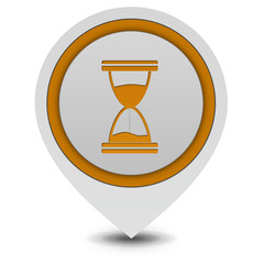 Hourglass pointer icon on white background