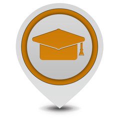 Graduation pointer icon on white background