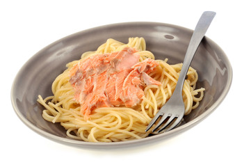 Assiette de spaghettis au saumon