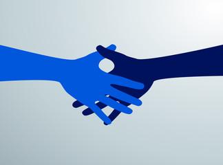 Siluetas de manos azules dandose la mano. Negociación