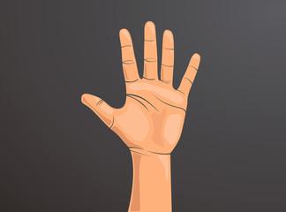 Palma de mano de hombre en vector