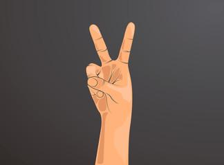 Mano haciendo señal de OK. Dos dedos