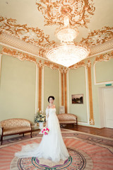 portrait of beautiful bride in luxury interior