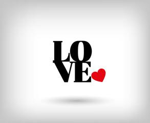 Texto Love con corazón rojo apoyado. Amor