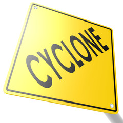 Road sign with cyclone