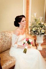 portrait of beautiful bride in luxury interior