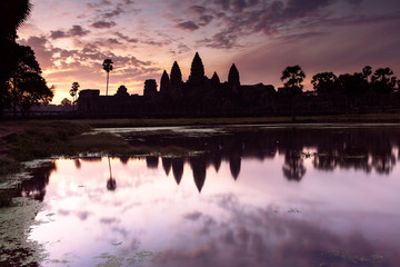 Angkor Wat silhouette at sunrise, Siem Reap, Cambodia.