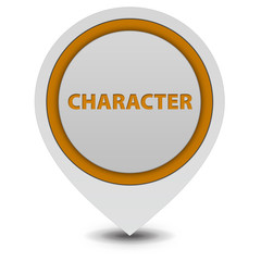 Character pointer icon on white background