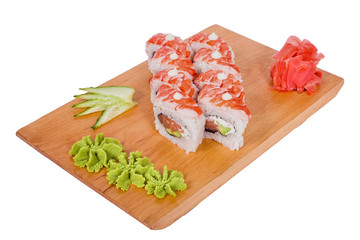composition of sushi on a wooden board