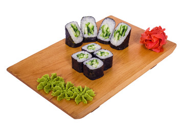 composition of sushi with cucumber