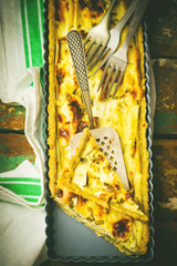 quiche with leek and a salmon.