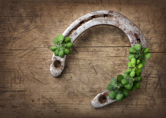 Old rusty horseshoe and four leaf clover