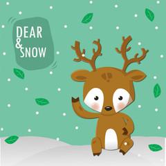 dear and snow