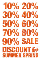 3D 10% to 90% numbers with discount, summer and spring text