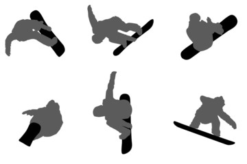 Set of black silhouettes of jumping Snowboarders