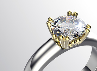 Ring with Diamond. Jewelry background. Valentine day