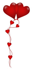 palloncini cuore rossi sfondo bianco