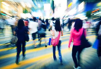 Hong Kong People Commuters Road Crossing Pedestrian Concept