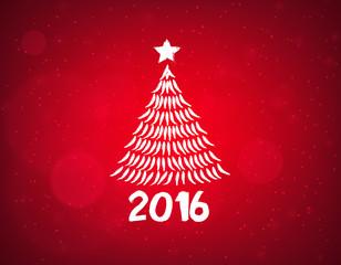 Silueta de pino de navidad sobre fondo rojo. Feliz 2016