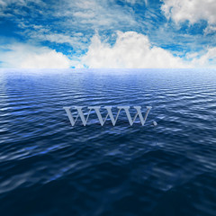 3d World Wide Web Internet symbal on the water background