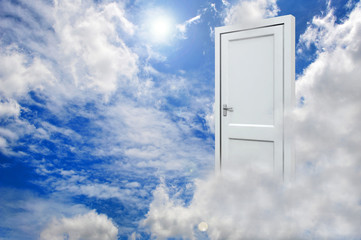3D white door opened on nice sky background with white clouds