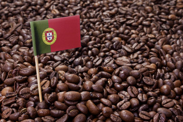 Flag of Portugal sticking in coffee beans.(series)