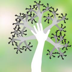 arbre mains, symbole de vie, travail en équipe