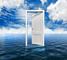 3D white door opened on the water to a nice sky background