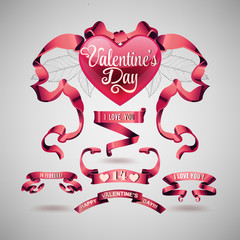Vector set of valentines day banner