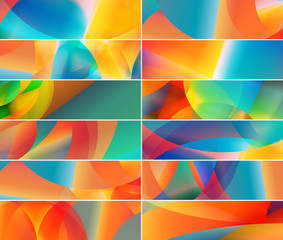 Set of abstract digital banners & backgrounds.