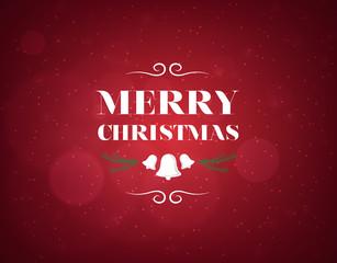 Fondo rojo de navidad con campanas y muerdago. Feliz navidad