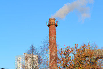 boiler pipe with smoke
