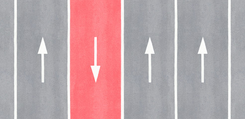 One is against. Arrow reversed against the others.