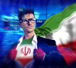 Businessman Superhero Country Iran Flag Culture Concept