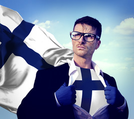 Businessman Superhero Country Finland Flag Culture Power Concept