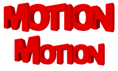 motion Movimento parola 3d rossa, isolata su fondo bianco